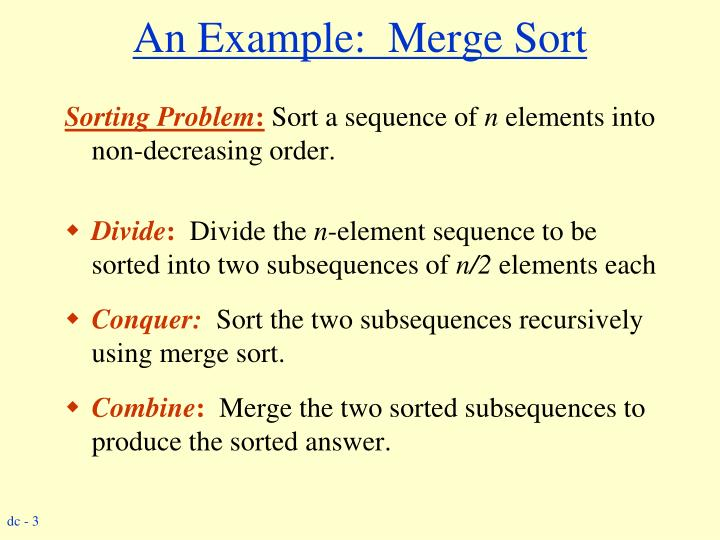 An example merge sort