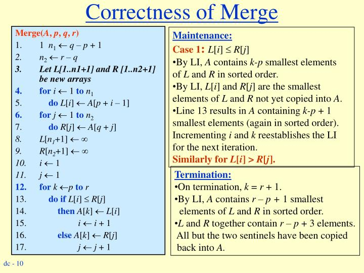 Correctness of Merge