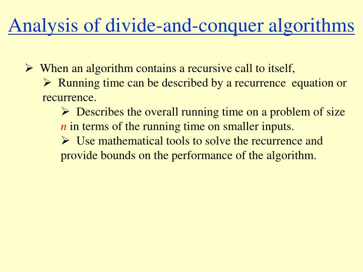 Analysis of divide-and-conquer algorithms