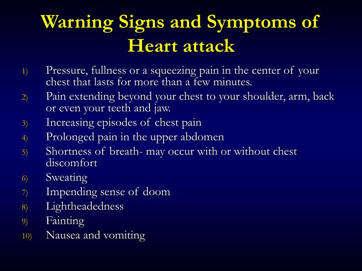Warning Signs and Symptoms of Heart attack