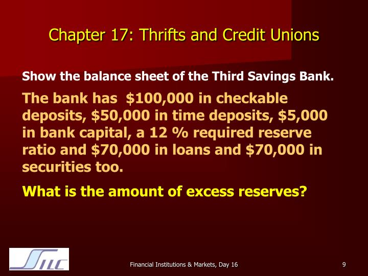 Chapter 17: Thrifts and Credit Unions