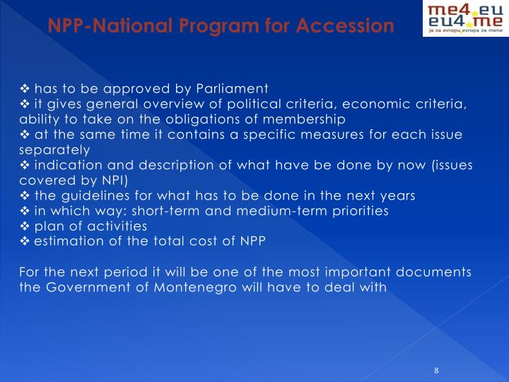 NPP-National Program for Accession