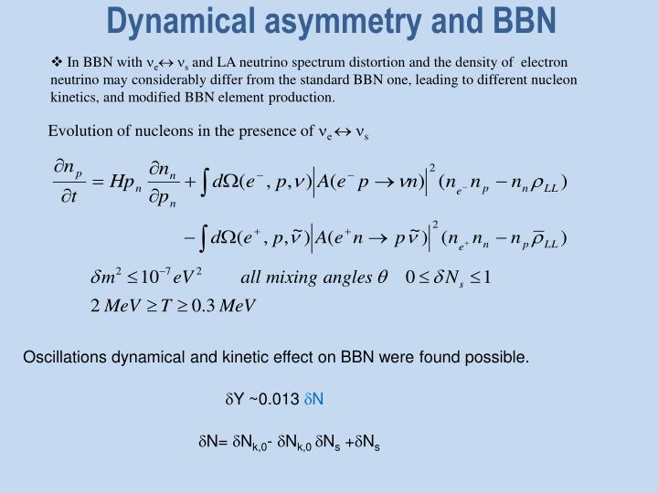Dynamical asymmetry and BBN
