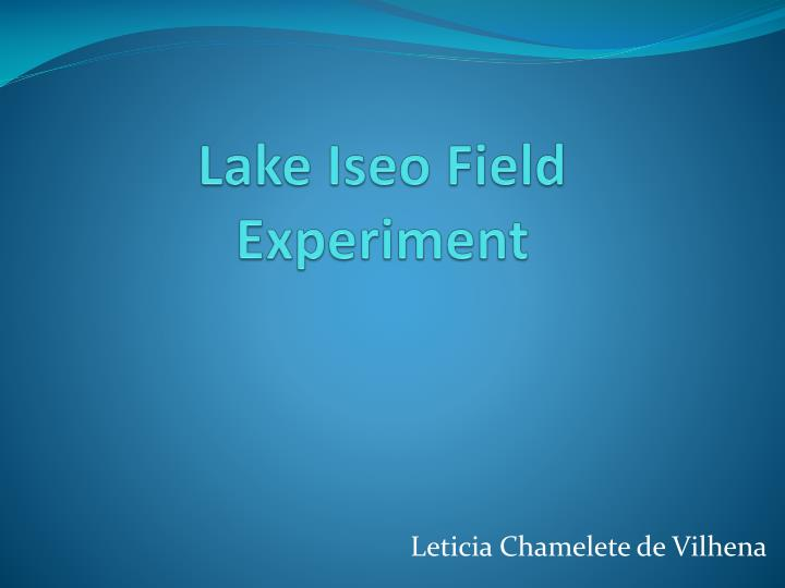 Lake iseo field experiment