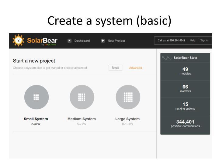 Create a system (basic)