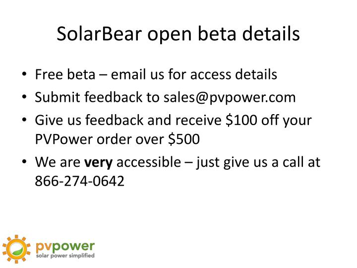 SolarBear open beta details
