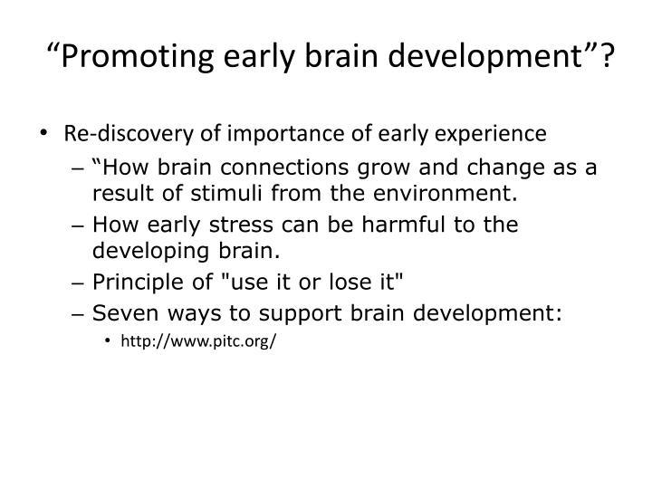 """Promoting early brain development""?"