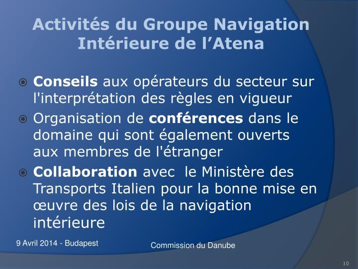 Activités du Groupe Navigation Intérieure de l'Atena