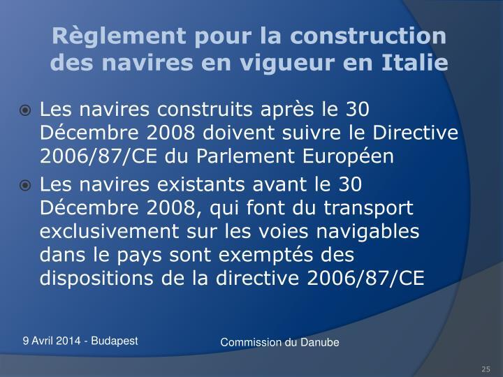 Règlement pour la construction des navires en vigueur en Italie