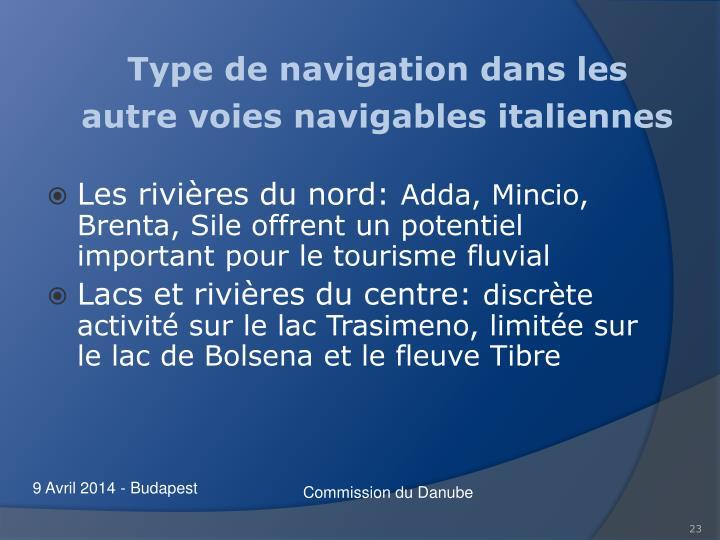 Type de navigation dans les  autre voies navigables italiennes