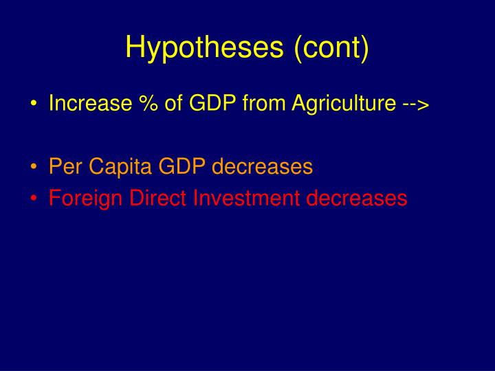 Hypotheses (cont)