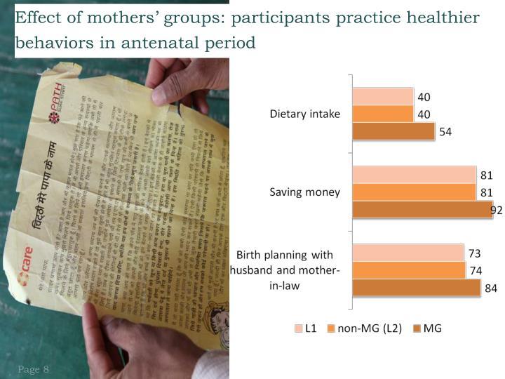 Effect of mothers' groups: participants practice healthier behaviors in antenatal period
