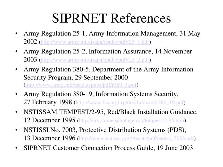 SIPRNET References