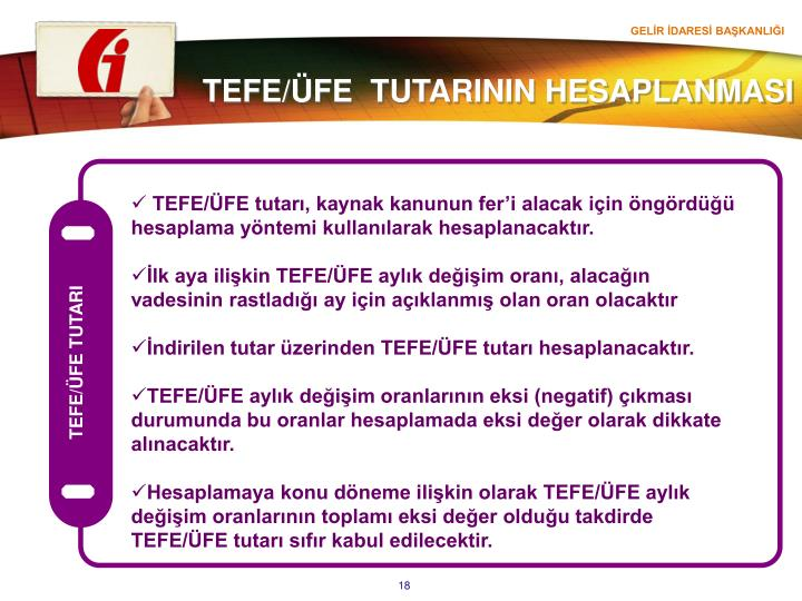 TEFE/ÜFE TUTARI