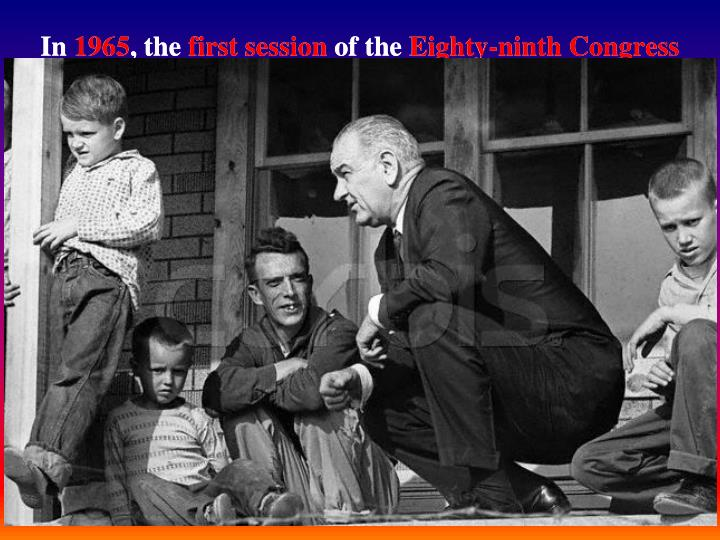 In 1965, the first session of the Eighty-ninth Congress created the core of the Great Society. The new Congress began by enacting long-stalled legislation such as Medicare and federal aid to education and then moved into other areas, including high-speed mass transit, rental supplements, truth in packaging, environmental safety legislation, new provisions for mental health facilities, a teachers' corps, manpower training, Operation Headstart, aid to urban mass transit, a demonstration cities program, a housing act that included rental subsidies, and an act for higher education. The Johnson Administration submitted eighty-seven bills to Congress, and Johnson signed eighty-four, or 96%, arguably the most successful legislative agenda in U.S. Congressional history.