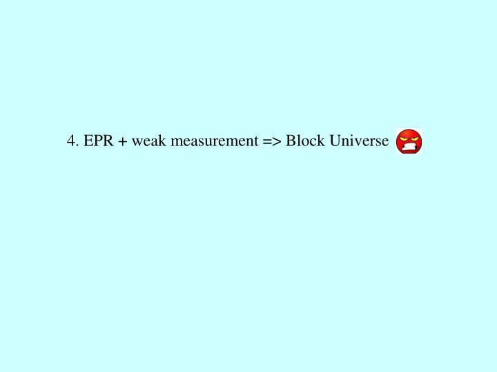 4. EPR + weak measurement => Block Universe