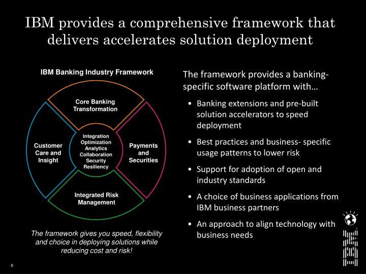 IBM provides a comprehensive framework that delivers accelerates solution deployment