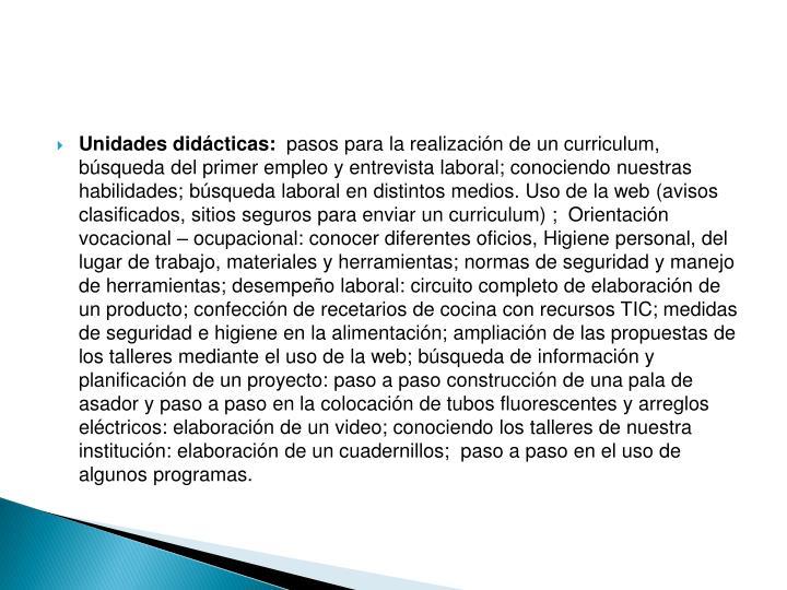 Unidades didácticas: