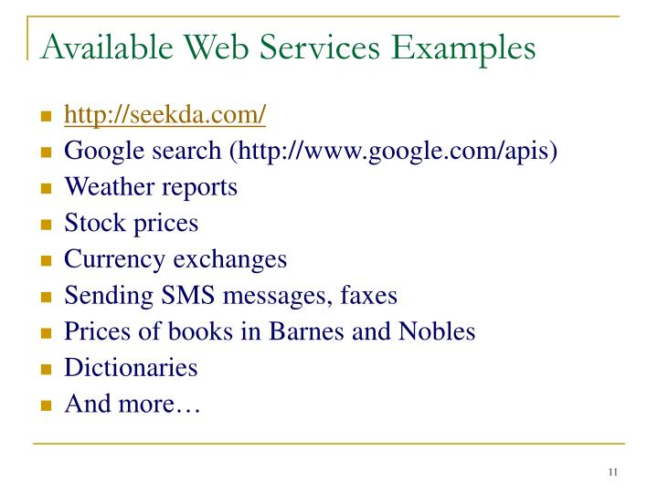 Available Web Services Examples