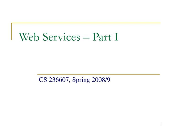 Web services part i