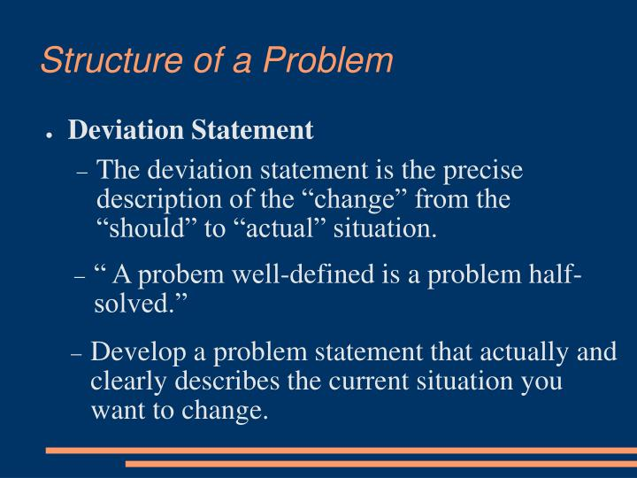 Structure of a Problem