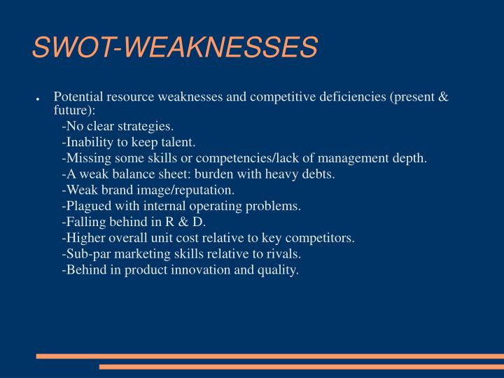 SWOT-WEAKNESSES