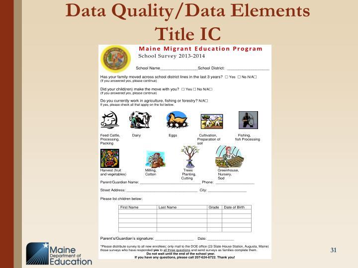 Data Quality/Data Elements