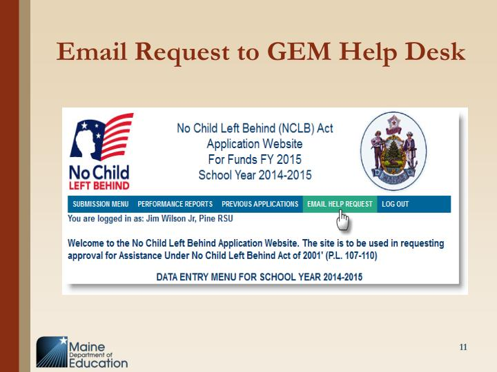 Email Request to GEM Help Desk