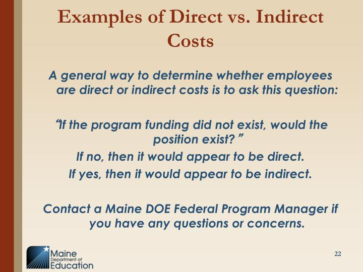 Examples of Direct vs. Indirect Costs