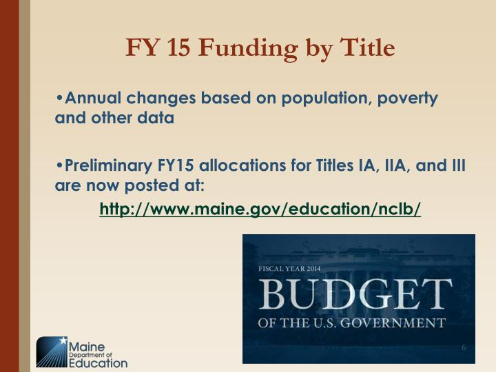 FY 15 Funding by Title