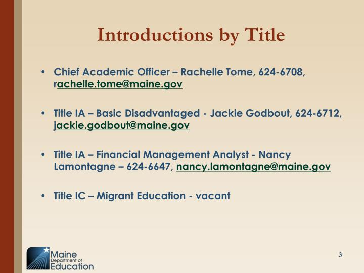 Introductions by Title