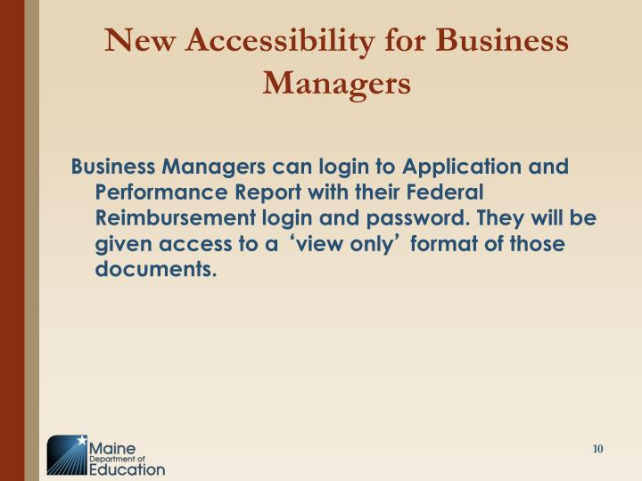 New Accessibility for Business Managers