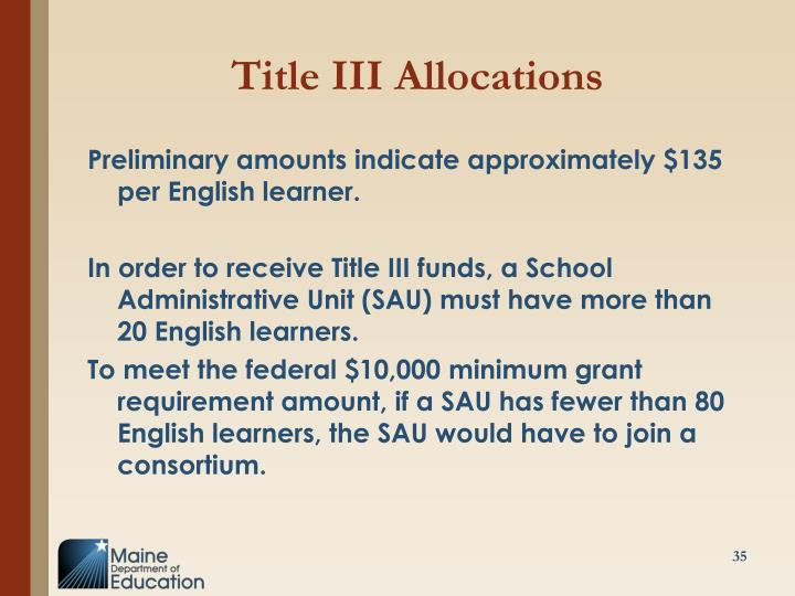 Title III Allocations