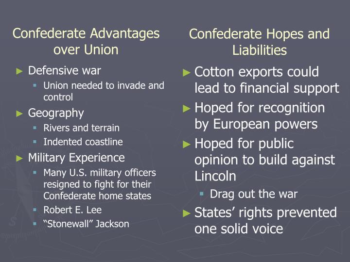 Confederate Advantages over Union