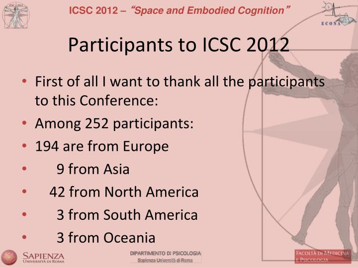 Participants to ICSC 2012