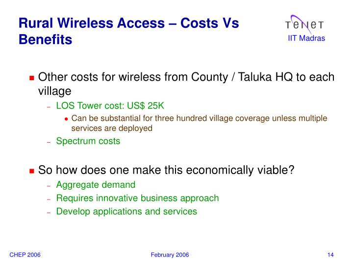 Rural Wireless Access – Costs Vs Benefits