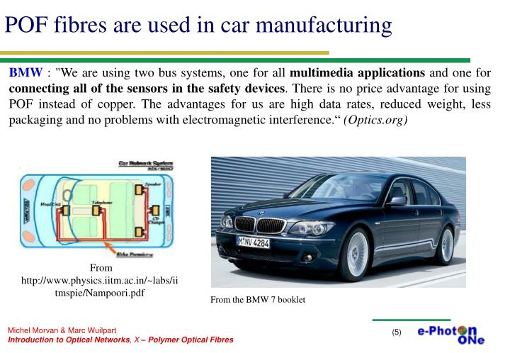 POF fibres are used in car manufacturing
