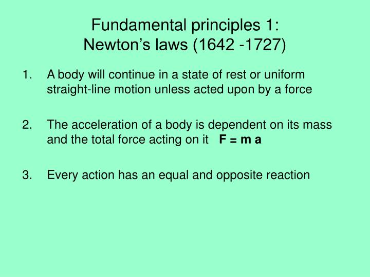 Fundamental principles 1: