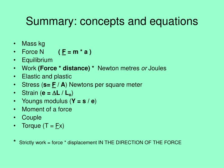 Summary: concepts and equations