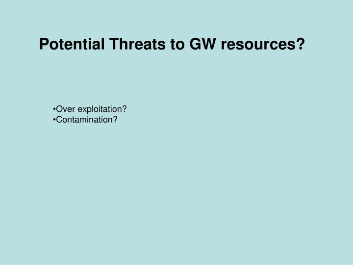 Potential Threats to GW resources?