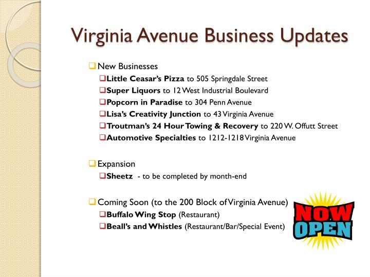 Virginia Avenue Business Updates