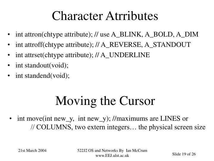 Character Atrributes