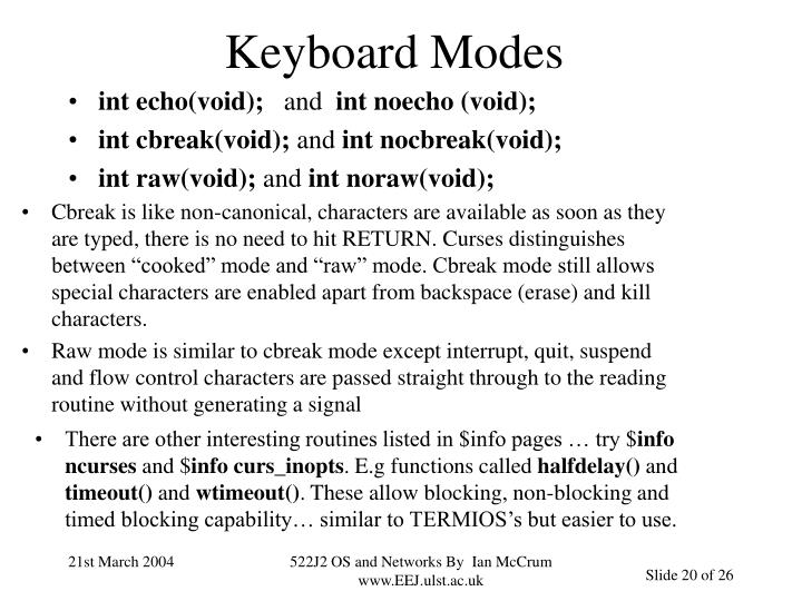 Keyboard Modes