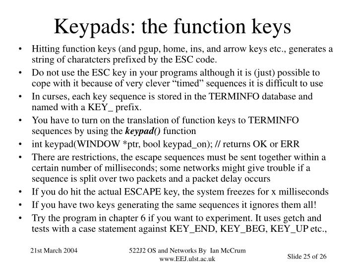 Keypads: the function keys