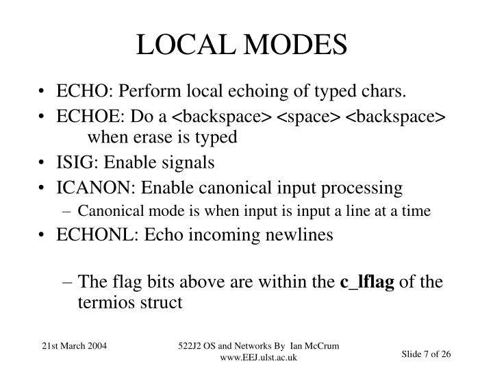 LOCAL MODES