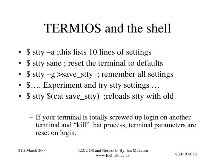 TERMIOS and the shell