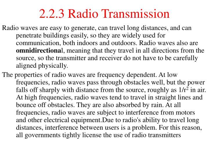 2.2.3 Radio Transmission