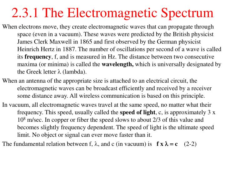 2.3.1 The Electromagnetic Spectrum