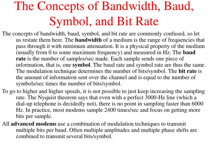 The Concepts of Bandwidth, Baud, Symbol, and Bit Rate