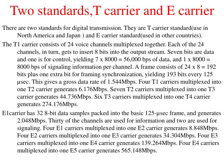 Two standards,T carrier and E carrier